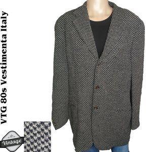 VTG 80s Vestimenta Houndstooth Blazer Made Italy